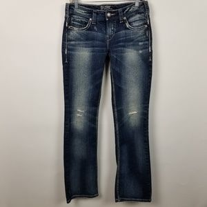 Silver Aiko Boot Cut Distressed Jeans 28x33